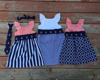 Girls Beach Dress Navy Coral White Anchor Nautical 0 3 6 12 18 24 2t 3t 4t 5/6 7/8 9/10 11/12 Family Pictures Sister Dresses Sibling Outfits
