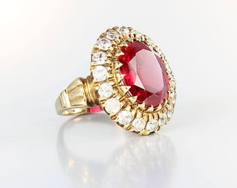Art Deco Ruby Ring, 10K Solid Gold Cocktail Diamond Ring, size 5 Antique jewelry,  Mark SA Hand Made