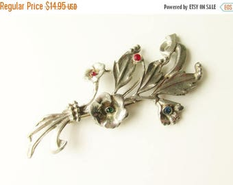 ON SALE Large Vintage Rhinestone Floral Flower Bouquet Brooch 4 inches 1920s