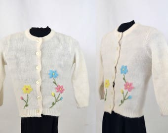 1960s Girls White Cardigan Sweater, Pink, Blue and Yellow Embroidered Flowers