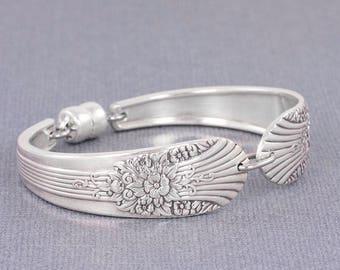 Spoon Jewelry - Silverware Bracelet - Silver Mist/Marigold 1935 Antique Silverware Jewelry