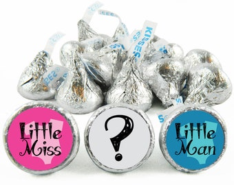 Set of 108 - Little Miss Little Man Stickers for Hershey's Kisses. Gender Reveal Baby Shower Kisses - Gender Reveal Party Favors - #IDGBS407