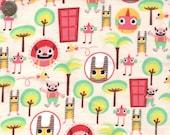 Cartoon Flannel Fabric. Multi colors on Off-White Flannel Fabric.  Cozy Cotton Flannel Fat Quarter or yardage