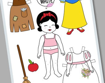 paper doll Snow white. Digital download.