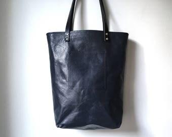 Leather Tote Bag - Dark Navy Black Tote Bag