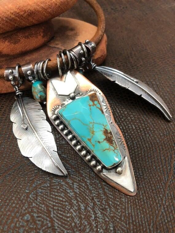 Handmade, Southwest, Boho, Cowgirl, Kingman Arizona Turquoise, Faceted Turquoise, Turquoise Pendant Necklace