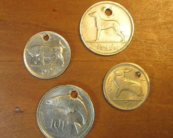 holed Irish lot of 4 coins, Ireland coinage, nice mix collecting, craft, jewelry, supply, supplies, lucky,coins with hole, charm, pendant