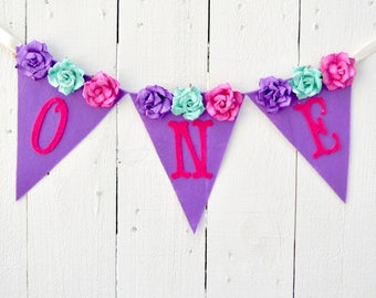 Floral Birthday party - Girl birthday Banner - Birthday banner - first birthday banner - floral birthday party - girl 1st birthday - 1st