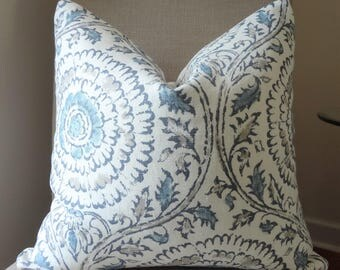 NEW Upholstery Grade Blue Beige Ivory Medallion Suzani Floral Pillow Cover Home Decor by HomeLiving Size 18x18