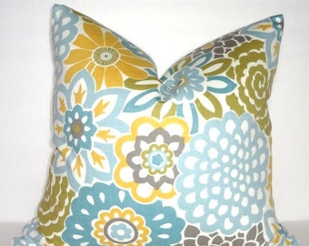 SPRING FORWARD SALE Waverly Button Blooms Floral Pillow Cover Pale Blue Yellow Green Grey Flower Pillow Cover