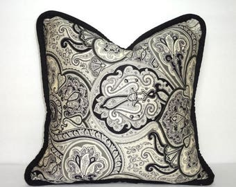 SPRING FORWARD SALE Waverly Paddock Shawl Onyx Black/Grey Bold Paisley Print Pillow Cover Decorative Throw Pillow Cover Size 16x16