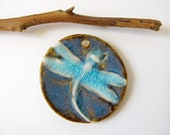Impressionist Blue Dragonfly Pendant, Stoneware Clay