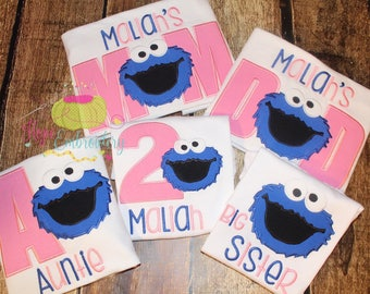 Personalized Cookie Monster Birthday Shirt Family Set  Applique and Embroidery
