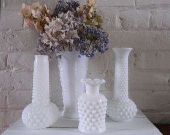 Vintage Milk Glass Vases - Textured