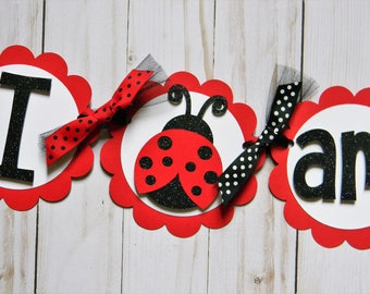 Ladybug Birthday Party High Chair Mini Banner - Ladybug Party Decorations - Red Black - First Birthday - High Chair Garland - Party Decor