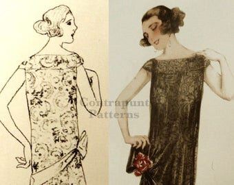 1920 wedding dress pattern. Two layers of fabric for the dress and a decorative diagonal hip.