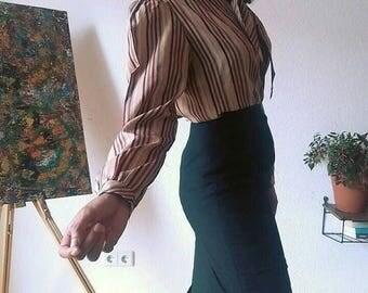 ON SALE 1970s Stripe Long Sleeve Puff Shoulder Bow Tie Blouse L