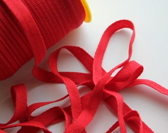 """3/8"""" Polyester Twill Tape - Red - 5 yards"""