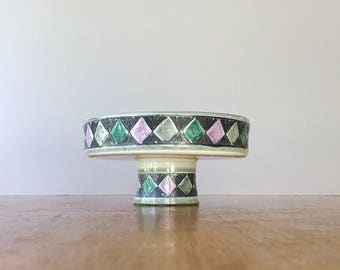 Mid Century Laholm Swedish Pottery Pedestal / Footed Console Bowl / Dish Sgraffito