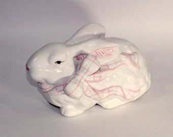 Large Ceramic Rabbit   Easter Rabbit for Centerpiece , Basket , or Arrangement   Pink and White China Bunny with Pink Bow   Crouching Rabbit