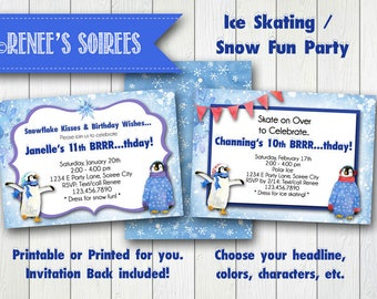 SKATING / SNOW / Winter Birthday Printable Invitation - Penguin Invite - Customizable DIY party