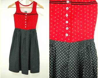 Bohemian VINTAGE Bavarian Girls DIRNDL Red Black Flower Folk Dress 5-6 yrs / Oktoberfest / Tyrol/ Austrian / German/ Christmas / Trachten