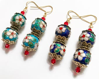 Floral Beads with Gold Earrings