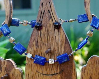 Lapis Rectangular Beads with Gold Freshwater Pearl and Copper