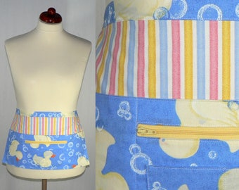 Lotsa Pockets Apron, New Mommy Apron, great for teachers, servers, craft shows, farmer's markets - RUBBER DUCKY, ready to ship in this size