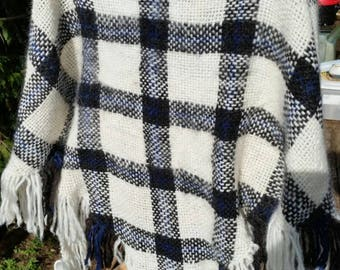 Plaid wool triangle shawl