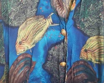 Aquarium Poisson marine veste en soie imprimé gilet kimono tunique large XL hipster ironique