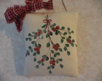 Primitive Folk Art Thanksgiving Harvest Cranberry Swag Wall Hanging Pillow Tuck