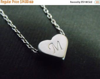 SALE Silver Heart Necklace, Personalized Necklace, Baby Shower, Silver Heart Pendant, Heart Initial Necklace, Hand Stamped, Valentines Gift