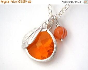 SALE Orange Necklace, Spring Necklace, Glass Necklace, Matte Rhodium Plated Leaf Charm, Tangerine, Carnelian Round Bead