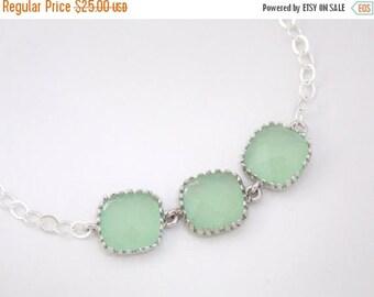 SALE Mint Bracelet, Mint Green, Light Green, Glass Bracelet, Sterling Silver, Wedding Jewelry, Bridal, Bridesmaids Bracelet, Bridesmaid Gift