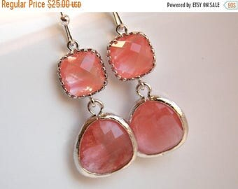 SALE Peach, Coral Earrings, Glass, Pink, Grapefruit, Champagne, Silver, Wedding Jewelry, Bridesmaid Gift, Bridesmaid Earrings, Bridal Jewelr