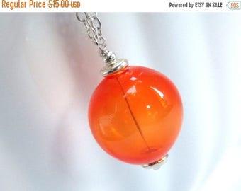SALE Orange Necklace, Hand Blown Glass Necklace, Tangerine, Orange Jewelry, Hollow Glass Necklace, Lampwork Necklace, Pendant, Large