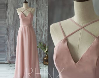 2017 Long Chiffon Bridesmaid Dress Straps, Blush Wedding Dress, V Neck Spaghetti Strap Prom Dress, Evening Gown Floor Length (T159)