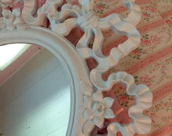 Shabby chic mirror, vintage white ribbon and bows