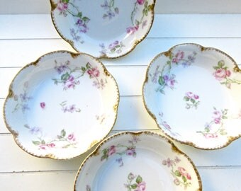 French Limoges Bowls - Haviland Limoges - French Fruit bowls - Ice cream bowls - Set of 4 - Roses - Violets