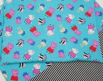 Peppa Pig Nap Mat Cover Sets - Unicorn Minnie Mouse Ariel Paris Eiffel Tower Cupcakes Nap Mat Cover - Matching Envelope Back Pillow Case