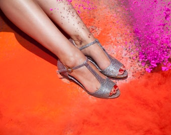 Sparkly Non leather sandals / vegan open toe sandals / unique low heel shoes / beautiful comfortable shoes / high quality everyday sandals