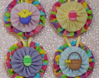 Easter Chick and Eggs/Basket Ornaments II- set of 4