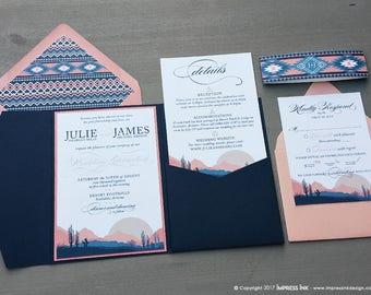 Desert Landscape Wedding Invitation Sample | Flat, Pocket Fold, or Wood Style | Cactus | Aztec | Arizona