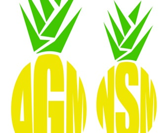 Pineapple monogram decals