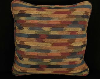 """18"""" x 18"""" Pillow Cover Blue Rose Green Brown Welting"""