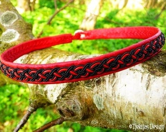 Sexy Goth Black Red Viking Necklace Choker NIFLHEIM Handcrafted Sami Leather Necklace with Lapland Braid