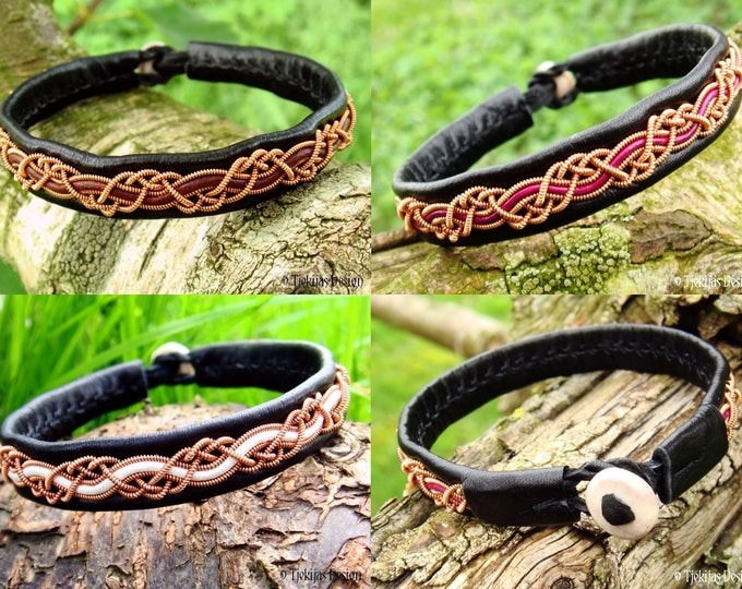 HUGINN Copper Viking Sami Bracelet in Black Leather for Men and Women - Custom Handmade to Your Size and Color