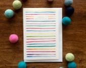 Birthday Card - Joyeux Anniversaire - Multicolour stripes - Illustration