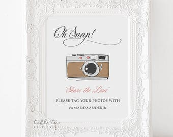 Oh Snap Hashtag Photo Sign Art Print - Retro Fun 2